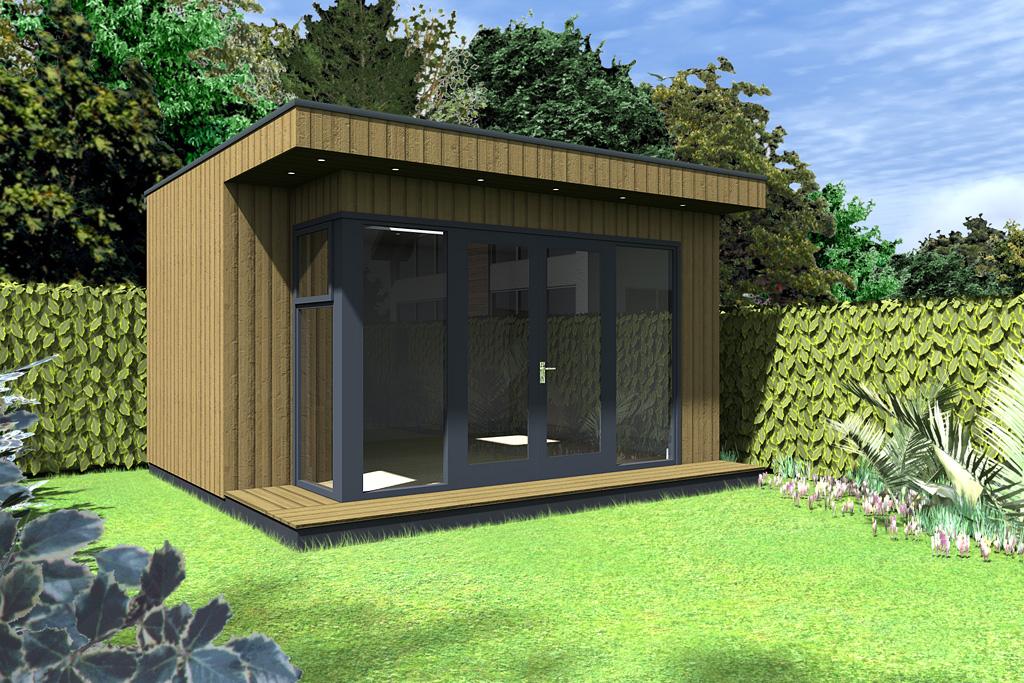 Contemporary insulated garden room cubeco ecos ireland for Pre built garden rooms